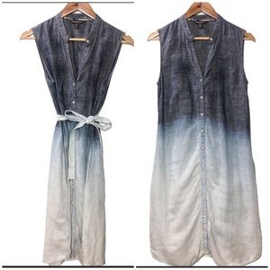 Tommy Bahama Dip Dye Chambray Linen Dress Sz Small